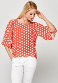 Orange Blouse with white dots