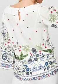 Luźna biała Bluzka w kwiaty