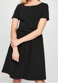 Odcinana czarna Sukienka w białe groszki