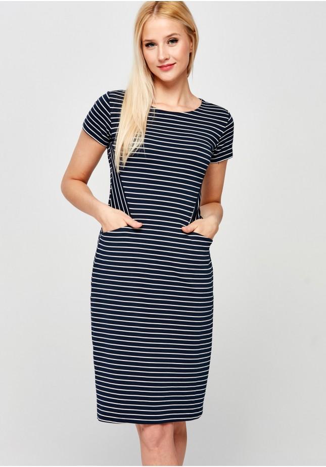 Marynarska sukienka z kieszeniami
