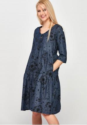 Bawełniana Sukienka midi w dmuchawce