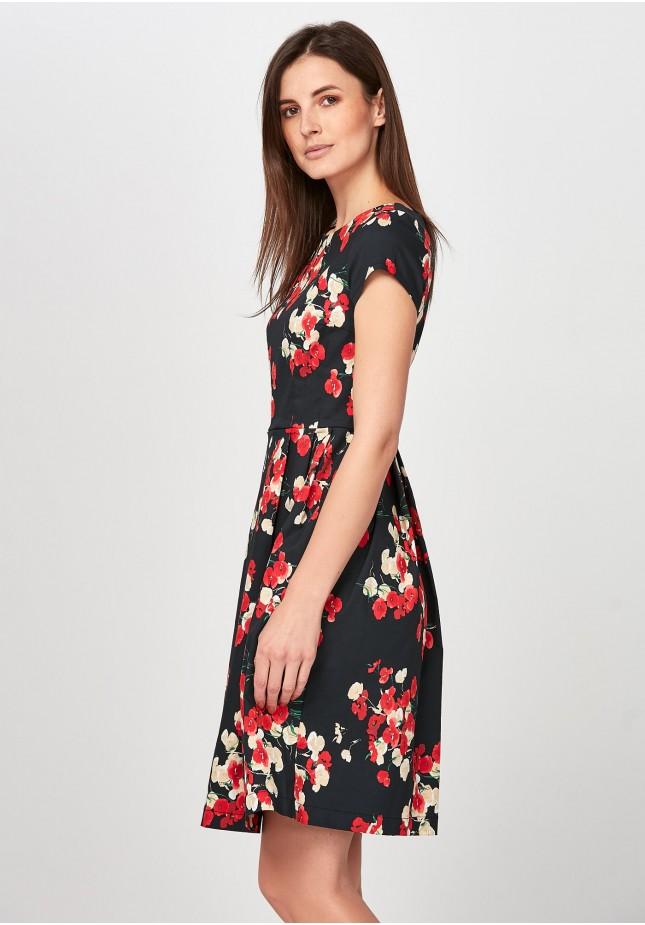 Elegancka odcinana Sukienka w kwiaty