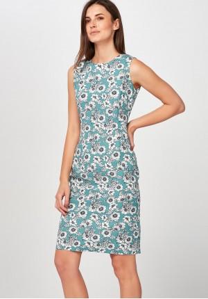 Lniana niebieska Sukienka w białe maki