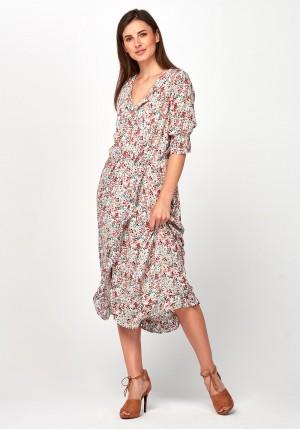 ec02e79018 Zwiewna jasna Sukienka midi
