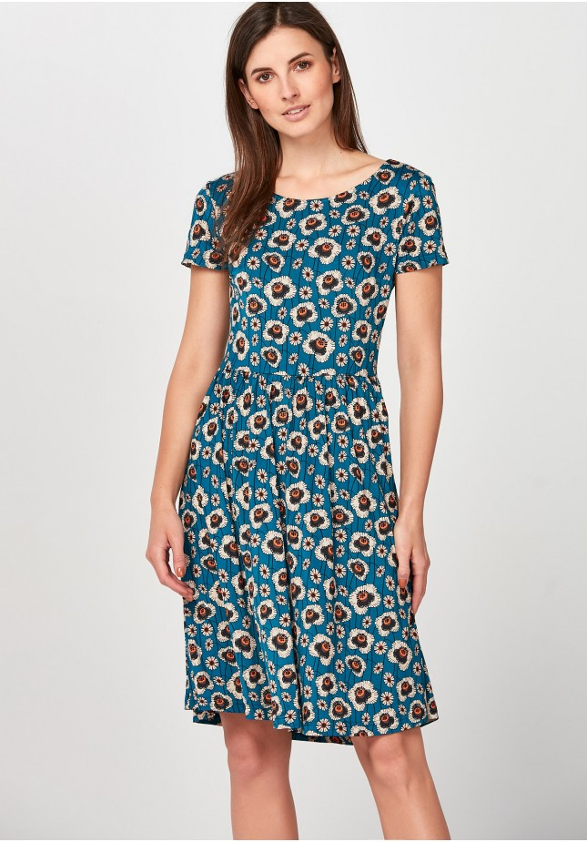 Blue flared Dress with orange flowers