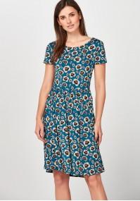 Niebieska Sukienka w pomarańczowe kwiaty