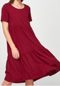 Bordowa zwiewna Sukienka