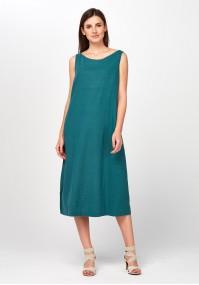 Turquoise midi linen Dress