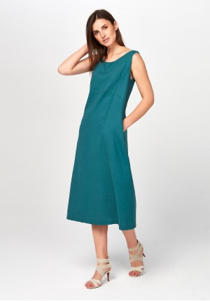 Turquoise midi linen Dress