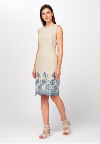 Linen Dress with blue embroidery
