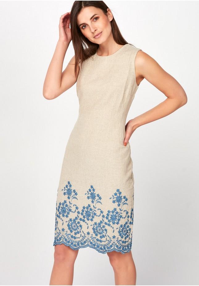 Lniana Sukienka z niebieskim haftem