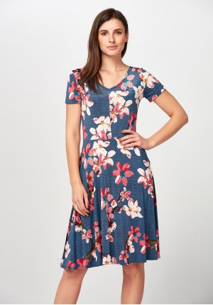 Denimowa Sukienka w kwiaty