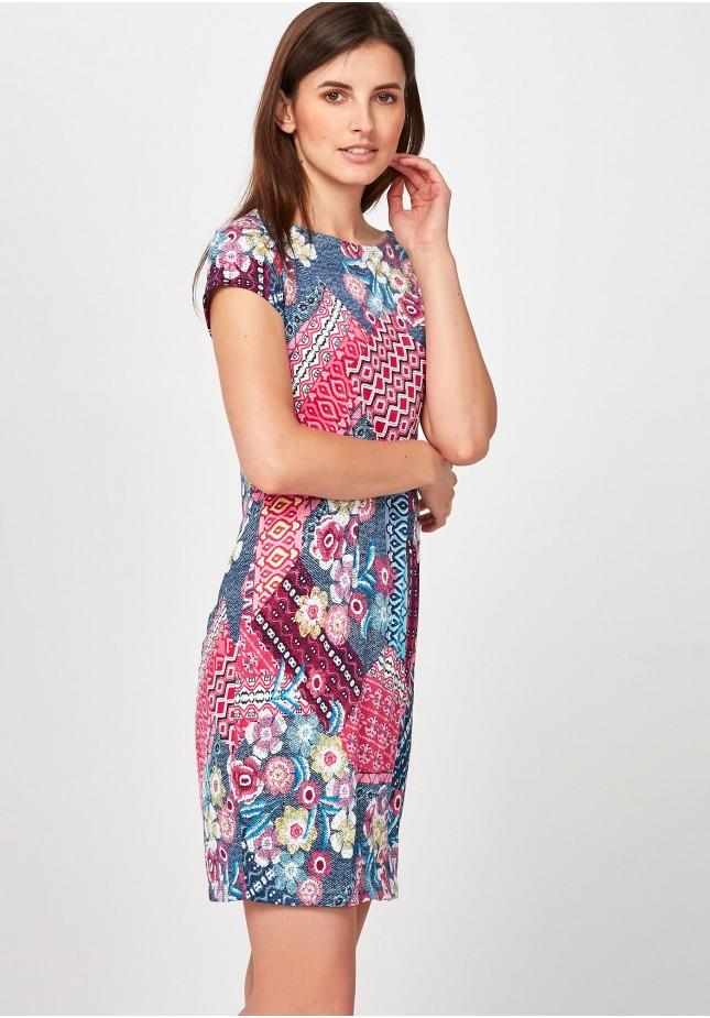 Różowo-denimowa Sukienka