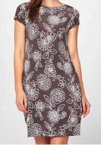 Brwon Dress with white patterns