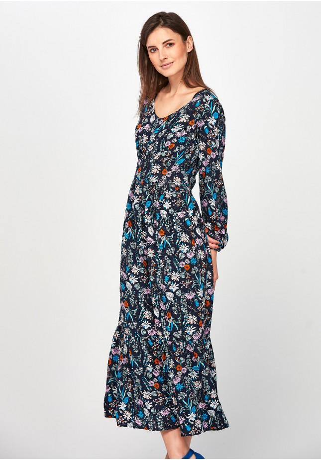 Maxi Dress with flowers and with frill