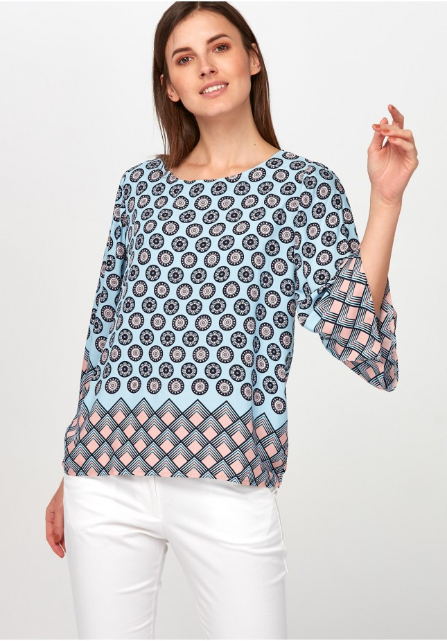 Light blue Blouse with rosettes