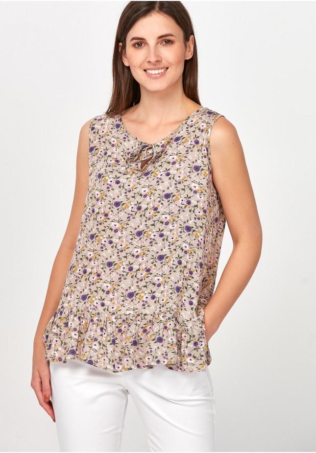 Beżowa Bluzka w drobne kwiatki