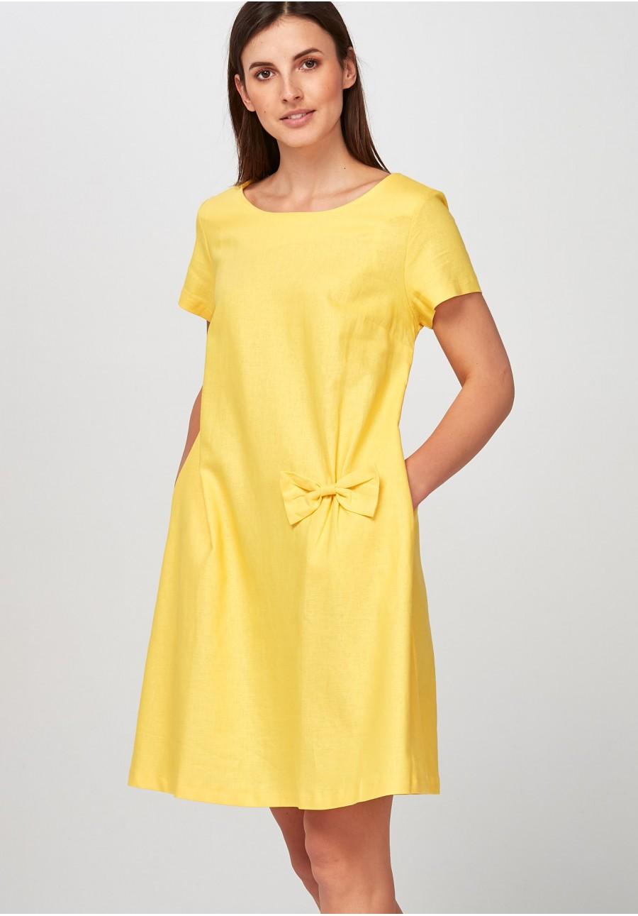 b74558ce1f Żółta lniana Sukienka z kokardką