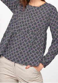 Navy Blouse with asymmetrical frill