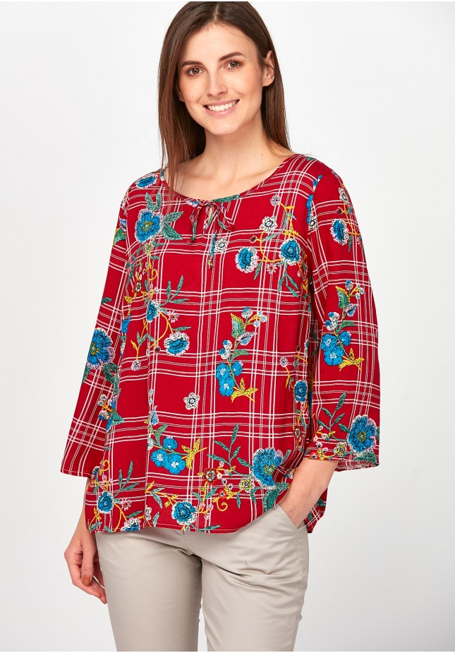 Checkered red Blouse with flowers