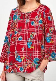Czerwona Bluzka w kratę i kwiaty
