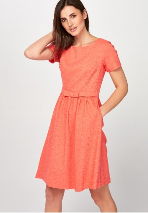 Orange flared Dress