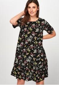 Czarna kwiecista Sukienka z falbaną