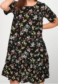 Black Flower Dress with frill