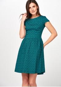 Elegancka zielona Sukienka w kratkę