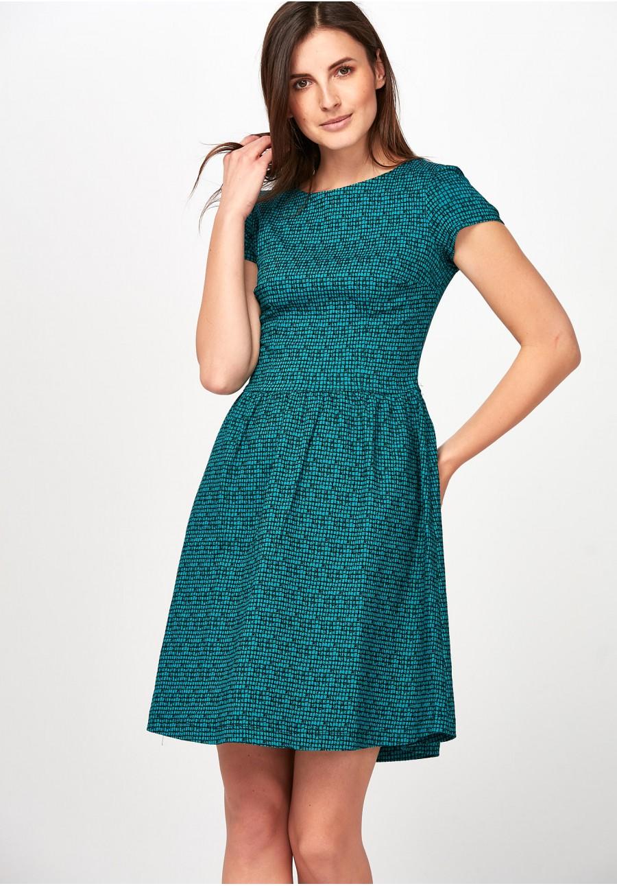 d1c229664a Elegancka zielona Sukienka w kratkę