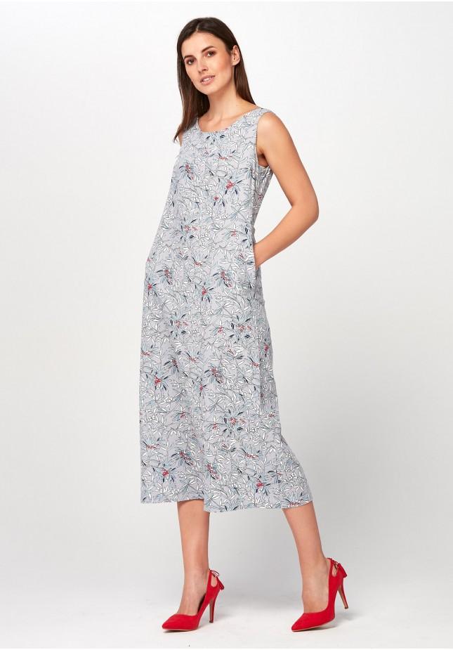 ca34d7f61421c9 Lniana Sukienka midi w kwiaty