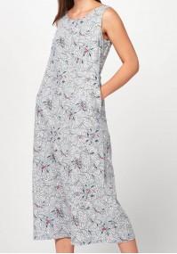 Lniana Sukienka midi w kwiaty