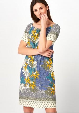 Pastelowa Sukienka w liście