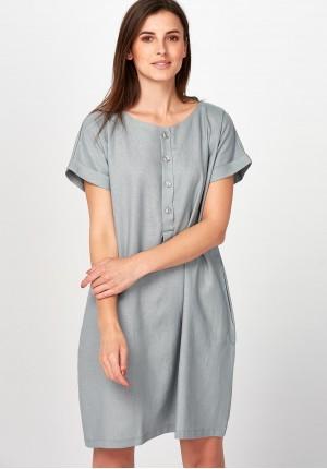 Szara prosta Sukienka z lnu