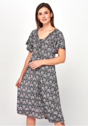 Kolorowa Sukienka z regulowanym dekoltem