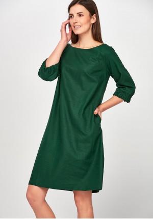 Lniana zielona Sukienka