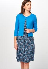 Niebieski Sweter z jednym guzikiem