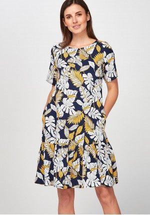 Dress with yellow and white leaves