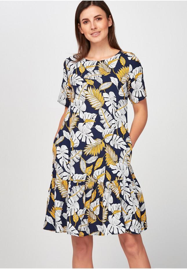 Sukienka w żółte i białe liście