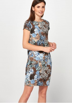 Brown Dress with roses