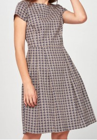 Rozkloszowana Sukienka w pastelowe listki