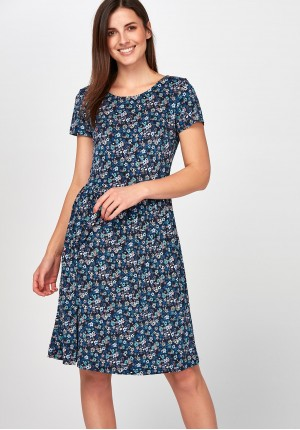 Flared blue Dress with flowers