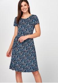 Rozkloszowana niebieska Sukienka łączka