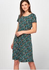 Rozkloszowana turkusowa Sukienka łączka