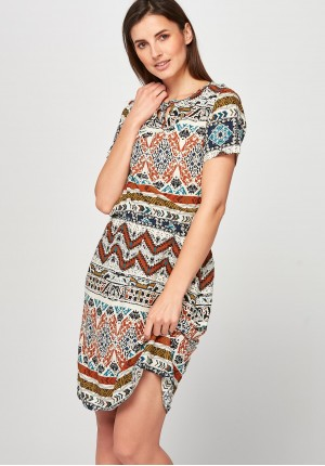 Beige and ginger Dress with gum
