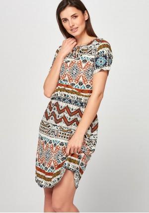 Beżowo-ruda Sukienka z gumką