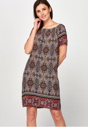 Ruda Sukienka z hiszpańskim dekoltem
