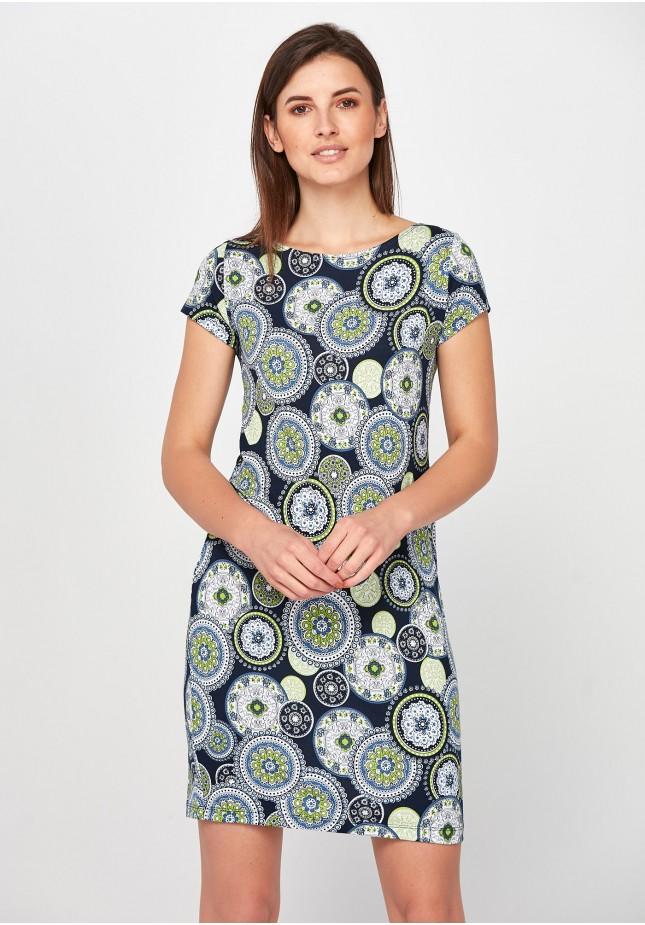 Zielona Sukienka w rozety
