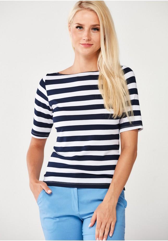 Marynarska Bluzka w szerokie pasy