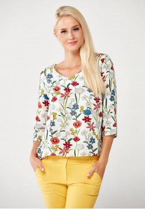 White Blouse with flowers